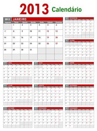 2013 il Portogallo Affari Calendar Template Vettoriali