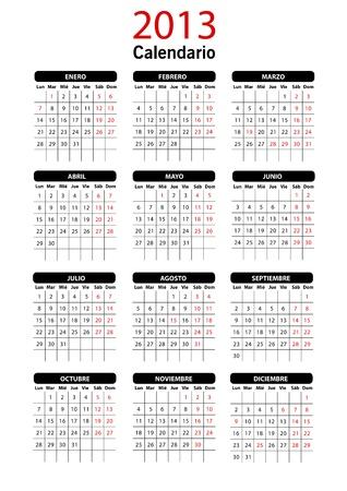 2013 Calendar Template spagnolo Vettoriali