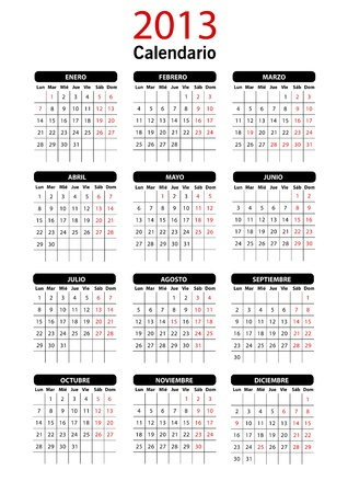 2013 Spanish Calendar Template Vector