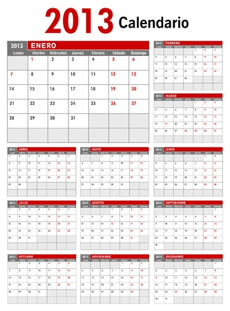 2013 Spanish Business Calendar Template Vector