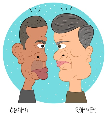 Obama and Romney Illustration Stock Photo - 15699696
