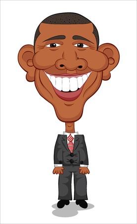 Caricature of Barack Obama Laughing