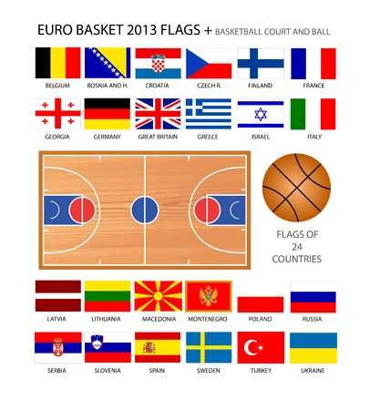 EuroBasket 2013 Flags  Original design  24 countries  With basketball court and ball  Stock Vector - 15887842