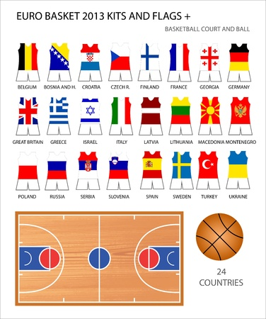 EuroBasket 2013 Kits and Flags Design  And basketball court and ball  24 countries  Vector