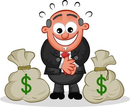Cartoon boss man looking greedily at a pair of money bags  Vector
