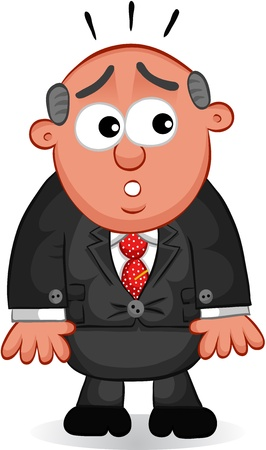 Businessman - Cartoon boss man afraid  Vector