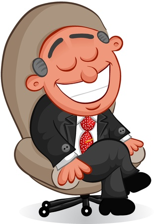 Businessman - Cartoon happy boss man sitting in a chair  Vector