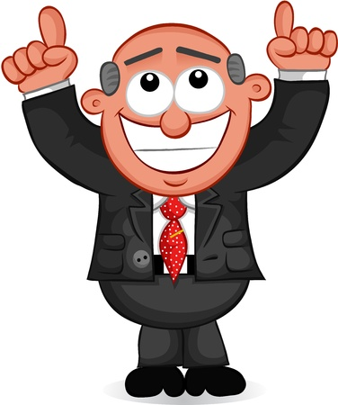 Businessman - Cartoon boss man happy and pointing to the heavens for his good fortune