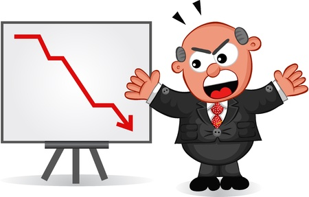Businessman - Cartoon boss man angry at sales or profit chart going down  Vector