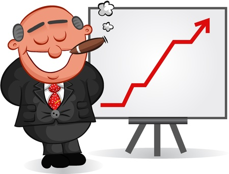 Businessman - Cartoon boss man smoking a cigar and satisfied with a business sales or profits chart  Vector