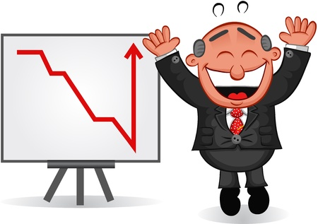Businessman - Cartoon boss man jumping for joy with a successful business profit or sales chart  Vector