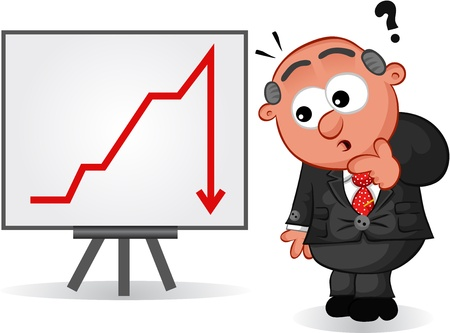 Businessman - Cartoon boss man surprised at a downturn business sales or profit chart  Vector