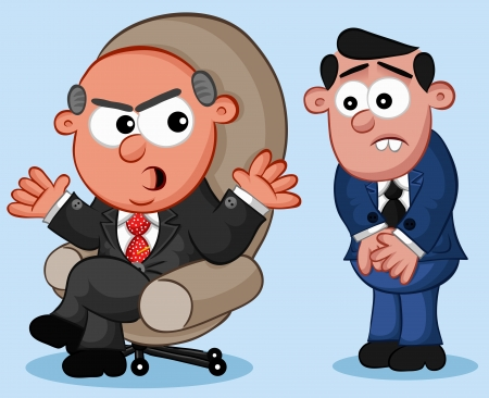 Businessman. Cartoon angry boss man and a nervous employee. Vector