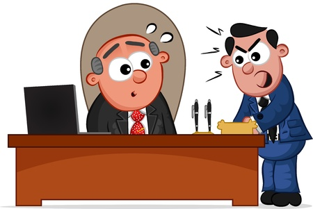 Businessman. Cartoon boss man and an employee shouting at him. Vector