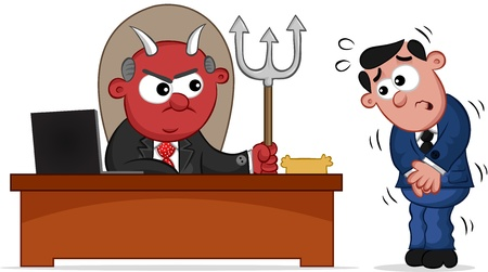 Businessman. Cartoon devil boss man and frightened employee. Vector
