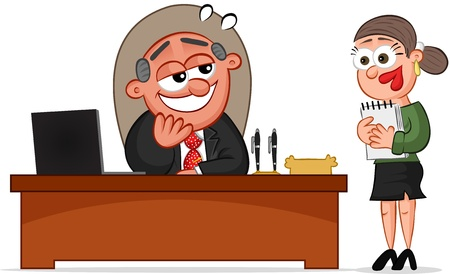 Businessman and Businesswoman. Cartoon boss man in love with his female secretary. Vector