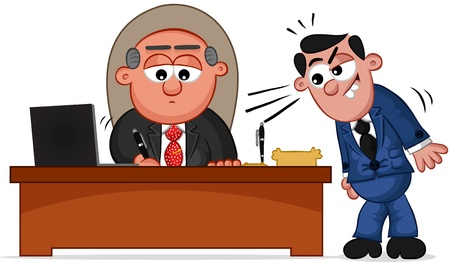 Businessman. Cartoon boss man signing papers with an eager employee looking on. Vector