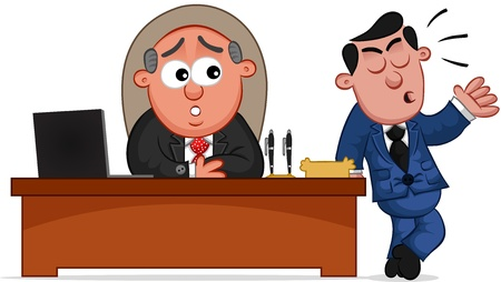 Businessman. Cartoon boss man with a complaining employee. Vector