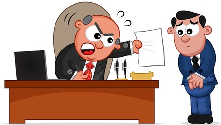 Businessman. Cartoon boss man shouting at an employee. Vector