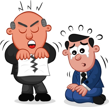 Businessman. Cartoon boss man tearing a piece of paper with an employee on his knees and crying. Vector