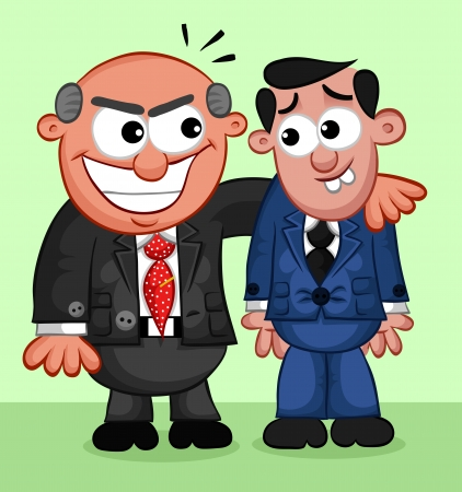 Businessman. Cartoon boss man taking advantage of a frightened employee. Vector