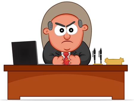 Businessman. Cartoon boss man angry and sitting at desk. Vector