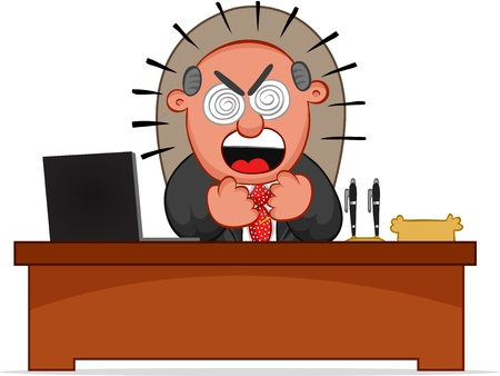Businessman. Cartoon boss man furious and sitting at desk. Vector