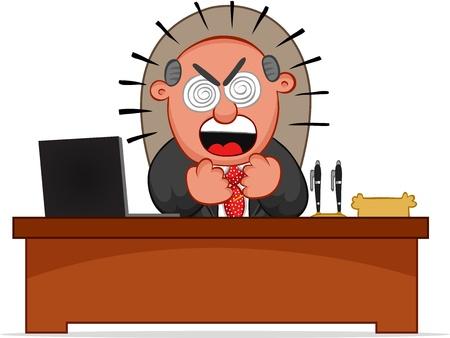 Hombre de negocios. Hombre Cartoon jefe furioso y sentado en el escritorio. Foto de archivo - 18677412