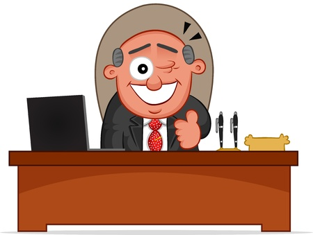 Businessman. Cartoon boss man winking and sitting at desk. Vector
