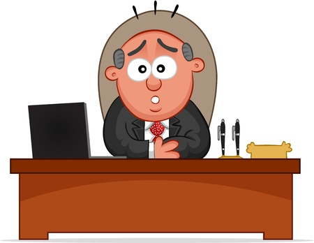 Businessman. Cartoon boss man surprised and sitting at desk. Vector