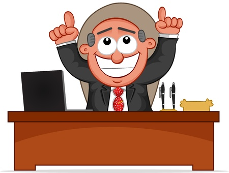 Businessman. Cartoon boss man happy and pointing to the heavens for his good fortune. Stock Vector - 18677393