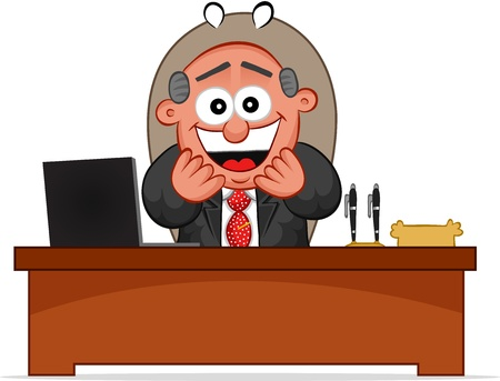 Businessman. Cartoon boss man laughing and sitting at desk. Stock Vector - 18677390