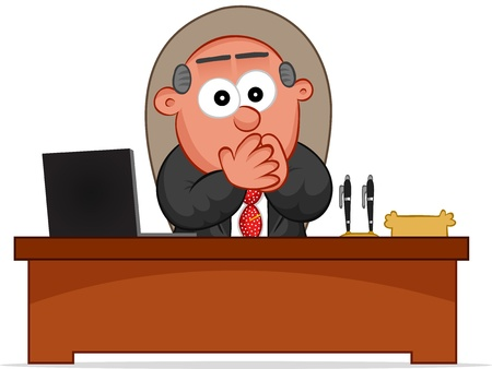 Businessman. Cartoon boss man surprised and sitting at desk. Stock Vector - 18677367