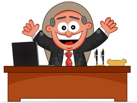 Businessman. Cartoon boss man laughing and sitting at desk. Stock Vector - 18677394