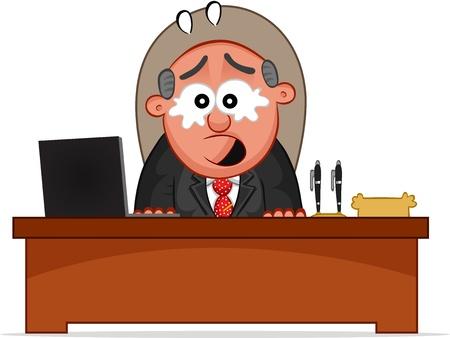 Businessman. Cartoon boss man crying and sitting at desk. Stock Vector - 18677372