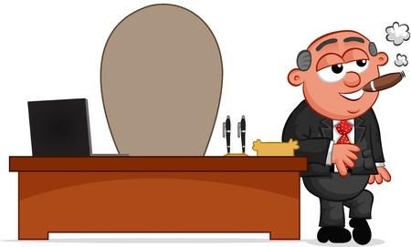 Businessman. Cartoon boss man smoking a cigar. Illustration