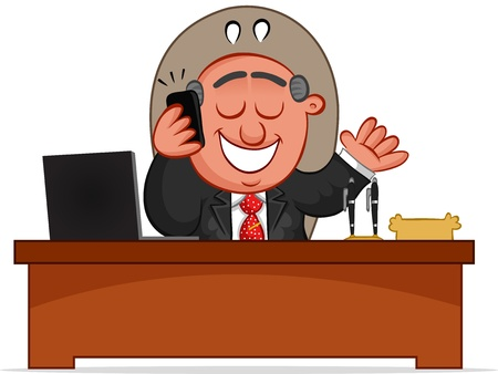 Businessman. Cartoon boss man happy on phone and sitting at desk. Illustration