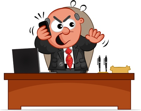 Businessman  Cartoon boss man behind desk and angry on the phone  Stock Vector - 18677483