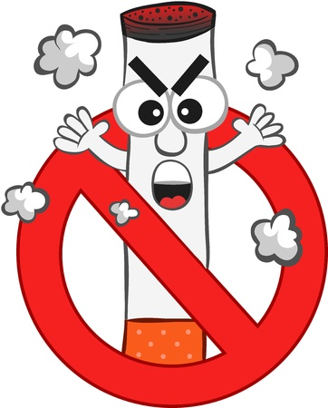 Smoking ban cartoon with an angry cigarette mascot