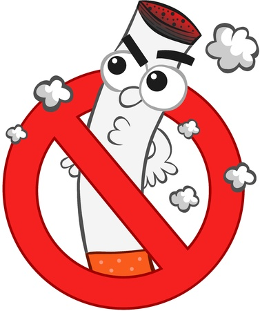 Smoking ban cartoon with an angry cigarette mascot  Stock Vector - 18677469