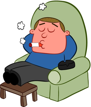 Cartoon man relaxing in a sofa chair and smoking a cigarette  Vector