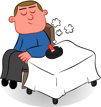 Cartoon man seated at a table and smoking a cigarette  Vector