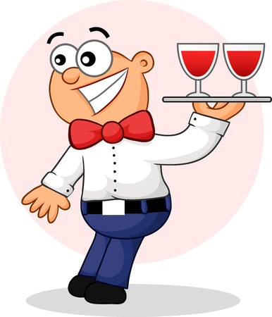 Cartoon of a surprised waiter. Vector