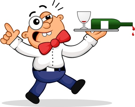 Cartoon of a drunk waiter. Vector