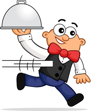 Cartoon of a running waiter representing fast service. Vector