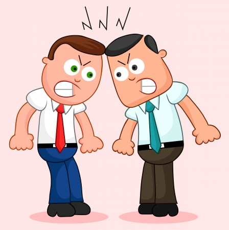 Two cartoon businessmen angry and fighting. Vector