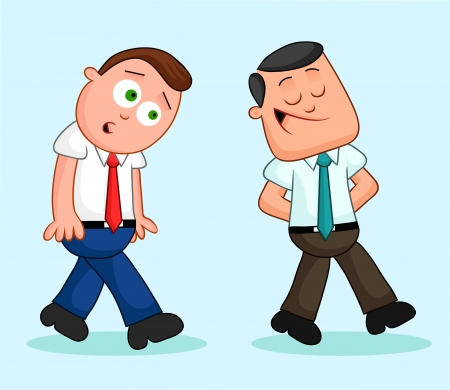 Two cartoon businessmen with one walking ahead and the other following. Vector