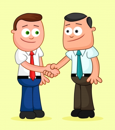 Two cartoon businessmen shaking hands. Vector