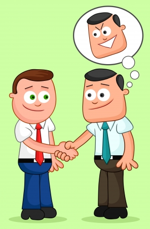Two cartoon businessmen shaking hands with one of them thinking sneaky thoughts. Vector