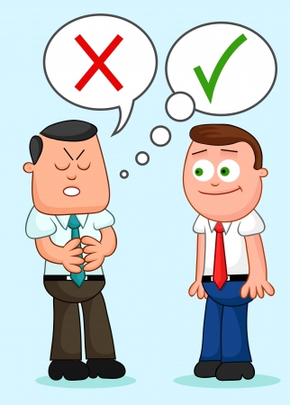 Two cartoon businessmen standing together with one of them telling a lie. Vector